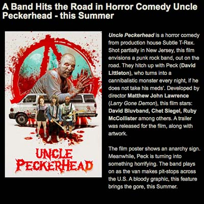 A Band Hits the Road in Horror Comedy Uncle Peckerhead - this Summer