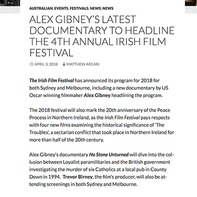 ALEX GIBNEY'S LATEST DOCUMENTARY TO HEADLINE THE 4TH ANNUAL IRISH FILM FESTIVAL