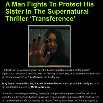 A Man Fights To Protect His Sister In The Supernatural Thriller 'Transference'