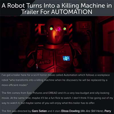 A Robot Turns Into a Killing Machine in Trailer For AUTOMATION