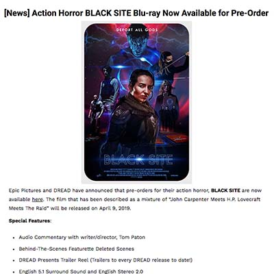 Action Horror BLACK SITE Blu-ray Now Available for Pre-Order