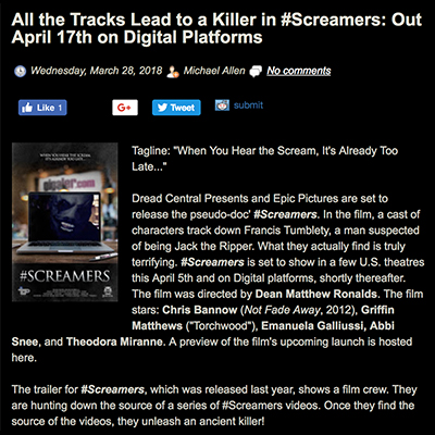 All the Tracks Lead to a Killer in #Screamers: Out April 17th on Digital Platforms