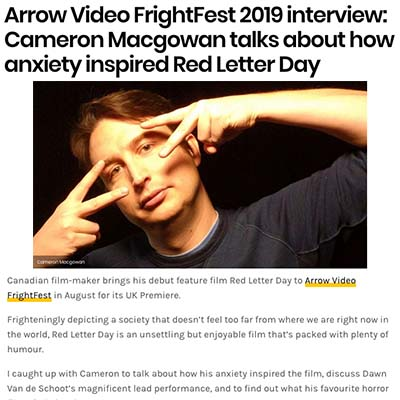 Arrow Video FrightFest 2019 interview: Cameron Macgowan talks about how anxiety inspired Red Letter Day