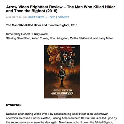 Arrow Video Frightfest Review – The Man Who Killed Hitler and Then the Bigfoot (2018)