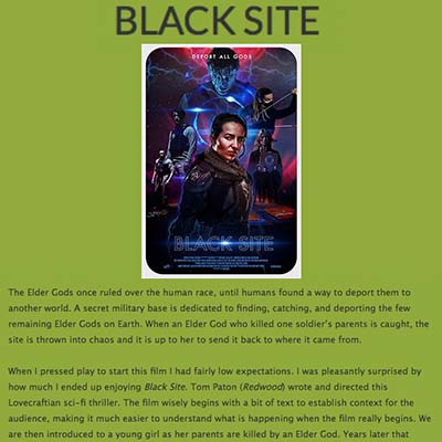 BLACK SITE REVIEW