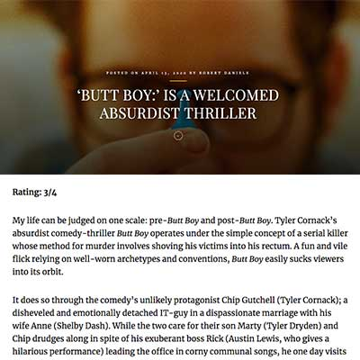 'BUTT BOY:' IS A WELCOMED ABSURDIST THRILLER