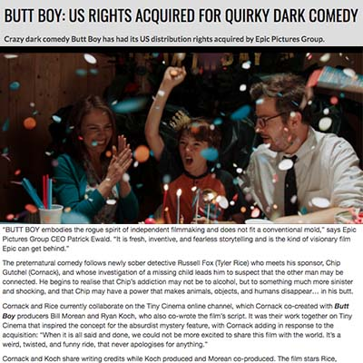 BUTT BOY: US RIGHTS ACQUIRED FOR QUIRKY DARK COMEDY
