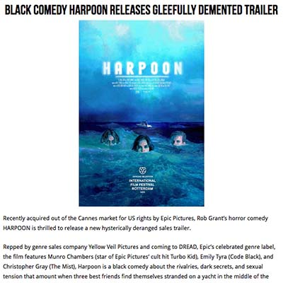 Black Comedy HARPOON Releases Gleefully Demented Trailer