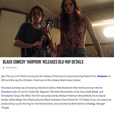 Black Comedy 'Harpoon' Releases Blu-ray Details