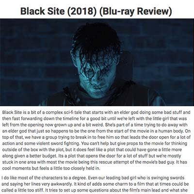 Black Site (2018) (Blu-ray Review)