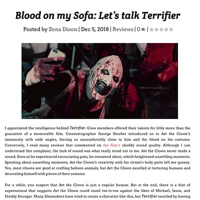 Blood on my Sofa: Let's talk Terrifier