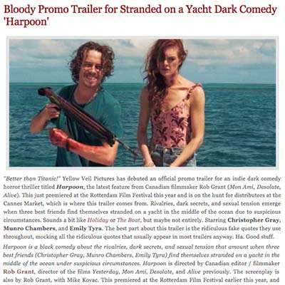 Bloody Promo Trailer for Stranded on a Yacht Dark Comedy 'Harpoon'