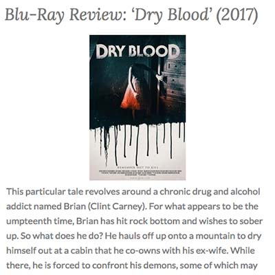 Blu-Ray Review: 'Dry Blood' (2017)