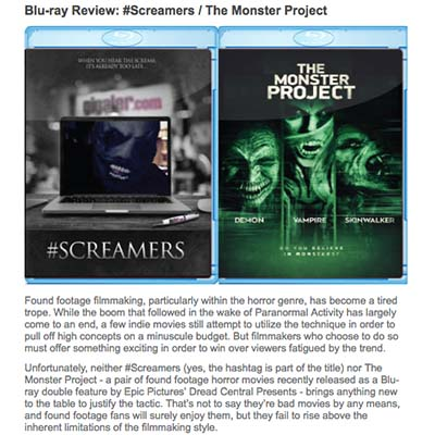 Blu-ray Review: #Screamers / The Monster Project