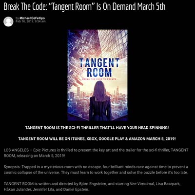 "Break The Code: ""Tangent Room"" Is On Demand March 5th"