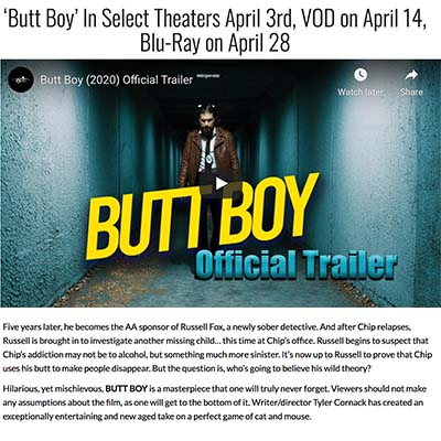 'Butt Boy' In Select Theaters April 3rd, VOD on April 14, Blu-Ray on April 28