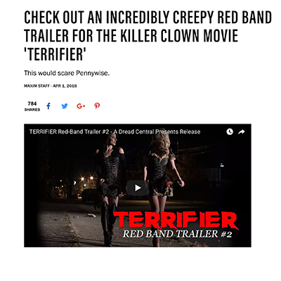 CHECK OUT AN INCREDIBLY CREEPY RED BAND TRAILER FOR THE KILLER CLOWN MOVIE 'TERRIFIER'