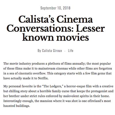 Calista's Cinema Conversations: Lesser known movies