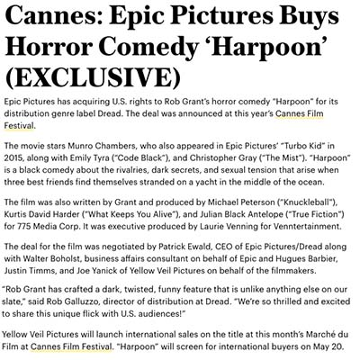 Cannes: Epic Pictures Buys Horror Comedy 'Harpoon' (EXCLUSIVE)