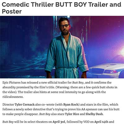 Comedic Thriller BUTT BOY Trailer and Poster