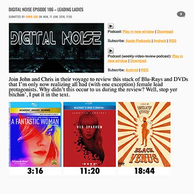 DIGITAL NOISE EPISODE 186 – LEADING LADIES