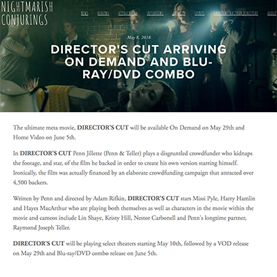 DIRECTOR'S CUT ARRIVING ON DEMAND AND BLU-RAY/DVD COMBO