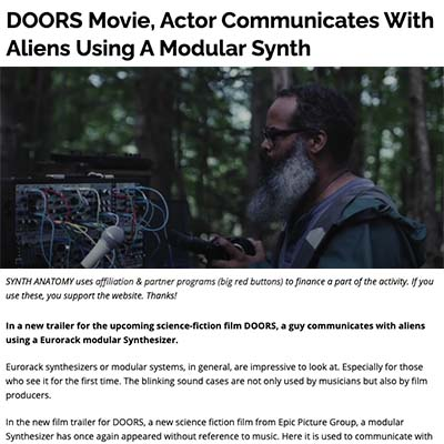 DOORS Movie, Actor Communicates With Aliens Using A Modular Synth