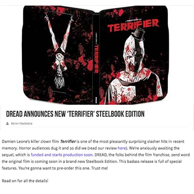 DREAD Announces New 'Terrifier' Steelbook Edition