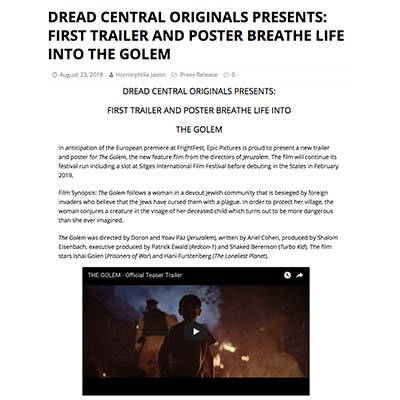 DREAD CENTRAL ORIGINALS PRESENTS: FIRST TRAILER AND POSTER BREATHE LIFE INTO THE GOLEM