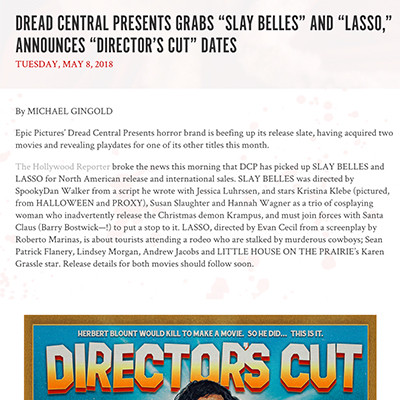 "DREAD CENTRAL PRESENTS GRABS ""SLAY BELLES"" AND ""LASSO,"" ANNOUNCES ""DIRECTOR'S CUT"" DATES"