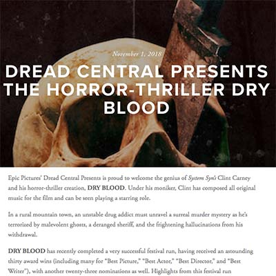 DREAD CENTRAL PRESENTS THE HORROR-THRILLER DRY BLOOD