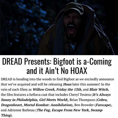 DREAD Presents: Bigfoot is a-Coming and it Ain't No HOAX
