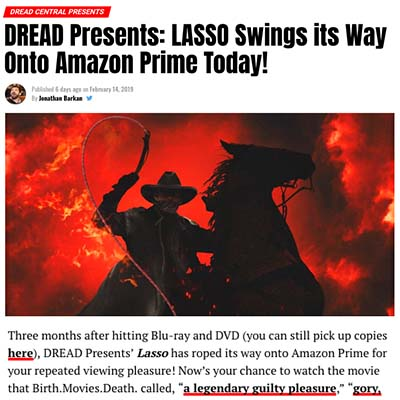 DREAD Presents: LASSO Swings its Way Onto Amazon Prime Today!