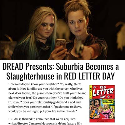 DREAD Presents: Suburbia Becomes a Slaughterhouse in RED LETTER DAY