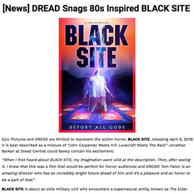 DREAD Snags 80s Inspired BLACK SITE
