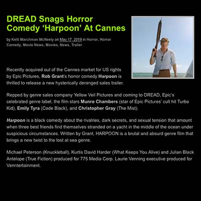 DREAD Snags Horror Comedy 'Harpoon' At Cannes