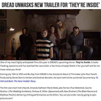 DREAD Unmasks New Trailer for 'They're Inside'