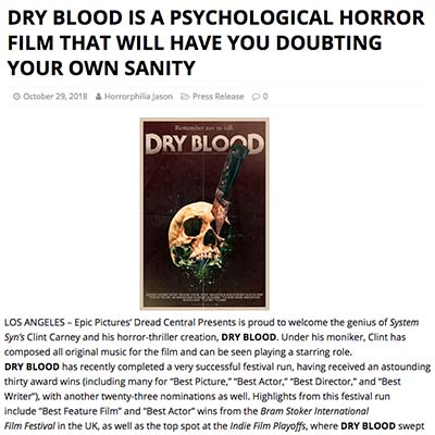 DRY BLOOD IS A PSYCHOLOGICAL HORROR FILM THAT WILL HAVE YOU DOUBTING YOUR OWN SANITY