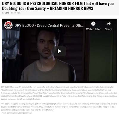DRY BLOOD IS A PSYCHOLOGICAL HORROR FILM That will have you Doubting Your Own Sanity – BREAKING HORROR NEWS