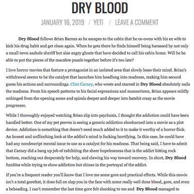 DRY BLOOD TN HORROR REVIEW