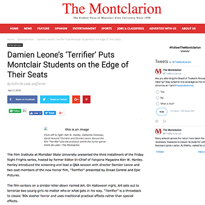 Damien Leone's 'Terrifier' Puts Montclair Students on the Edge of Their Seats