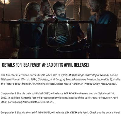Details for 'Sea Fever' Ahead of its April Release!