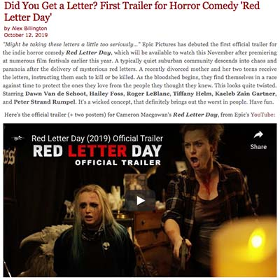 Did You Get a Letter? First Trailer for Horror Comedy 'Red Letter Day'