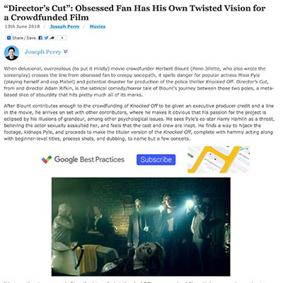 """Director's Cut"": Obsessed Fan Has His Own Twisted Vision for a Crowdfunded Film"