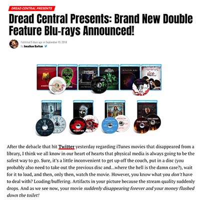 Dread Central Presents: Brand New Double Feature Blu-rays Announced!