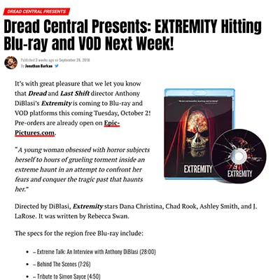 Dread Central Presents: EXTREMITY Hitting Blu-ray and VOD Next Week!