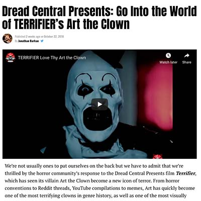 Dread Central Presents: Go Into the World of TERRIFIER's Art the Clown