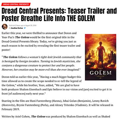 Dread Central Presents: Teaser Trailer and Poster Breathe Life Into THE GOLEM