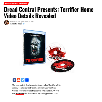 Dread Central Presents: Terrifier Home Video Details Revealed
