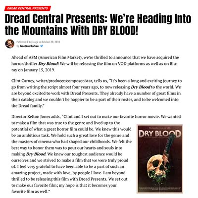 Dread Central Presents: We're Heading Into the Mountains With DRY BLOOD!